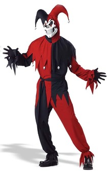 Adult Deluxe Devious Evil Jester Clown Costume