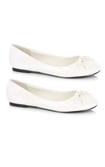 Adult Womens White Ballet Flats Tin Woman Shoes