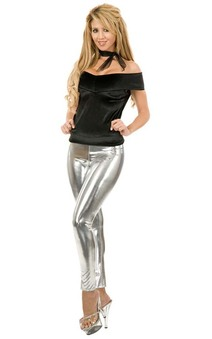 Silver Metal Leggings Adults Costume