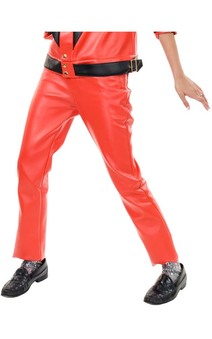 Michael Jackson Red Faux Leather Pants Adult Costume