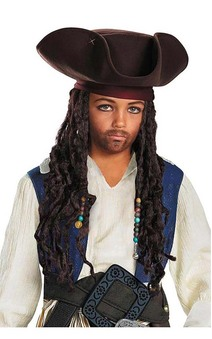 Jack Sparrow Childs Pirate Hat Beaded Braid Wig