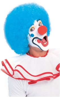 Clown Blue Afro Circus Wig