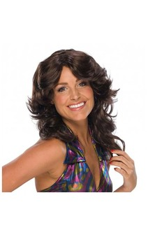 Brown 1970s Adult Disco Wig