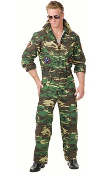 Army War Camoflage TOPGUN Jumpsuit Adult Costume