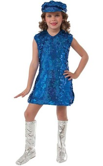 Blue 1960s Mod Girl Child Costume