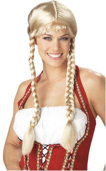 ADULT WOMENS BLONDE PIGTAIL PLAITED BEER WENCH BRAIDS WIG