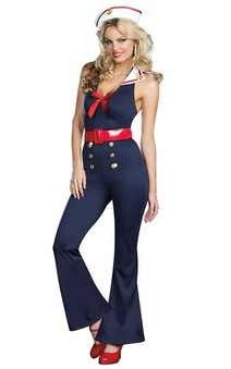 Bon Voyage Sexy Retro Sailor Jumpsuit Adutl Costume