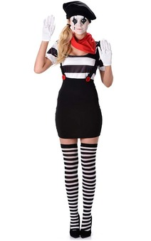 Mime Girl Adult French Clown Costume