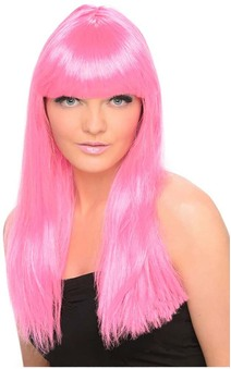 Neon Pink Long Straight Adult Wig