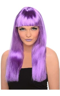 Neon Purple Long Straight Wig