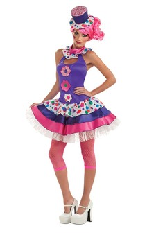 Jellybean Adult Colourful Clown Costume