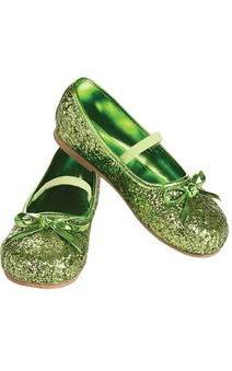 Green Glitter Flats Child Tinkerbell Shoes
