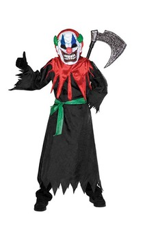 Crazy Clown Robe Mask + Strobe lights Child Costume