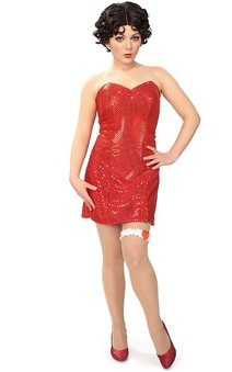 ADULT WOMENS SEXY BETTY BOOP RED DRESS