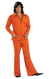 60s 70s Safari Suit Orange Adult Costumes