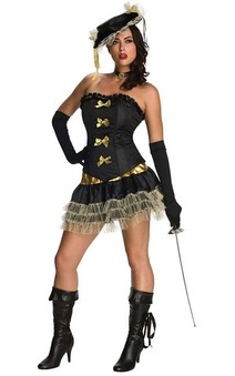 Black Sexy Musketeer Adult Costume