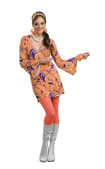 60's Hippie Tangerine Flower Power Adult Costume