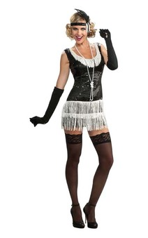 Black Sequin Flapper Dress Adult