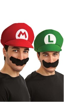 Mario or Luigi Hat & Moustache