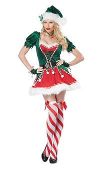 Santa's Helper Adult Deluxe Elf Costume