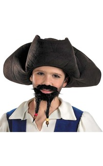 CHILD BOYS JACK SPARROW PIRATE OF CARRIBEAN HAT MOUSTACHE AND GOATEE