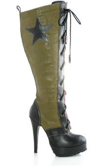 Military Army Adult High Heel Combat Boots