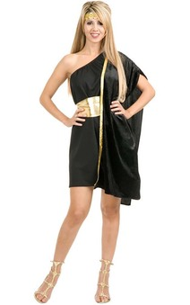 Black Greek Goddess Roman Toga Adult Costume