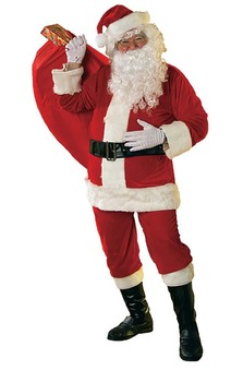 Santa Claus Adult Velour Costume Suit +Eyebrows