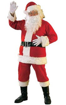 Flannel Santa Suit Adult Costume Includes Wig & Beard