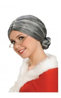 Grey Old Lady Mrs Claus Adult Wig
