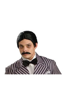 LICENSED GOMEZ ADDAMS FAMILY COSTUME WIG & MOUSTACHE ADULT MENS HALLOWEEN