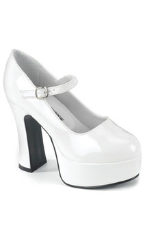 White High Heel Platform Adult Shoes