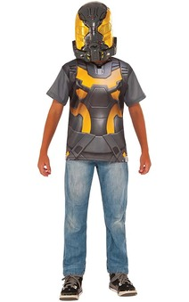 Yellow Jacket Child Ant-man Costume Top T-shirt & Mask