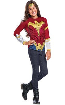 Wonder Woman Justice League Costume Top T-shirt & Tiara