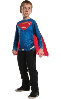 Superman Man Of Steel Long Sleeve Costume Top T-shirt & Cape