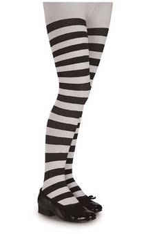 Black & White Striped Child Stockings