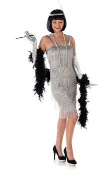 Silver Flapper Adult Charleston Gatsby Costume