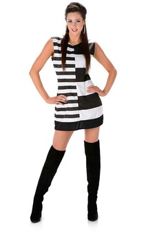 Monochrome Mod Girl Adult 1960s Costume