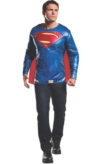 Muscle Chest Superman Adult Costume Top T-shirt & Mask