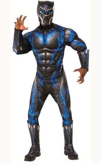 Deluxe Muscle Chest Battle Suit Black Panther Adult Costume