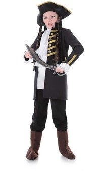 Black Pirate Captain Childs Costume