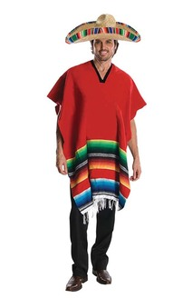 Mexican Adult Sombrero Poncho Costume