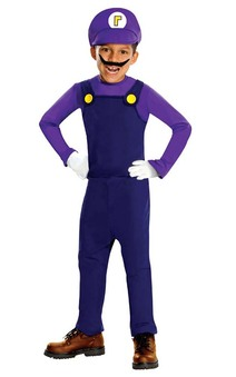 Waluigi Deluxe Super Mario Bros Child Costume