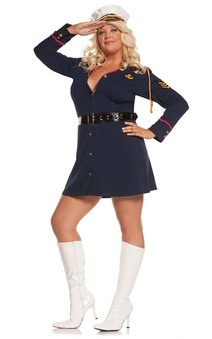 NAVY OFFICER SEXY SAILOR SHIP WOMENS ADULT PLUS FANCY DRESS HALLOWEEN COSTUME