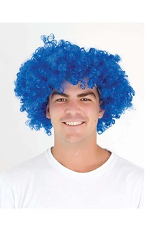 Blue Afro Clown Adult State Of Origin Wig