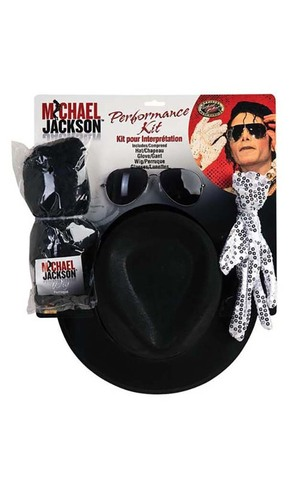 Michael Jackson Wig, Glove, Hat & Glasses Costume Set
